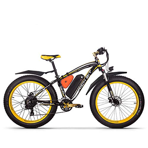 Bicicletas eléctricas para Hombre Cruiser Grasa Bicicleta TP012 1000W*48V*17Ah Fat Tire 26'* 4.0inch 7marchas Shimano dearilleur de Ciclismo Amarillo