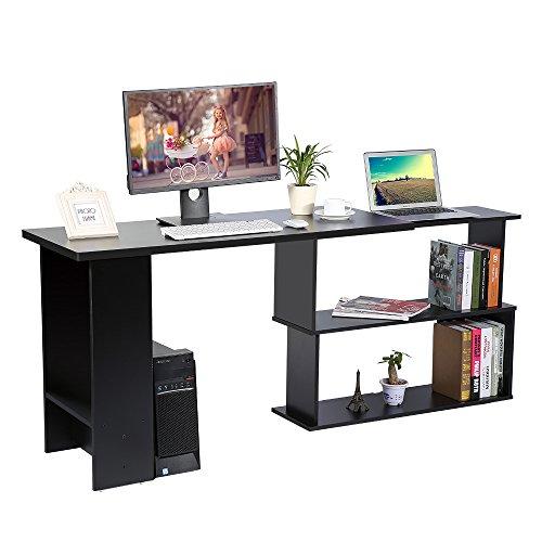 Cocoarm Eckschreibtisch Schreibtisch Winkelkombination PC-Tisch Bürotisch mit Regal Möbel für Home Office 120 x 89 x 74 cm (Schwarz) -