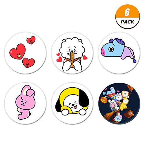 Christ For Givek Kpop Cute Cartoon BTS Bangtan Boys Buttons Badges/Pin 2.3 Inch (58mm)( 6PCS) -