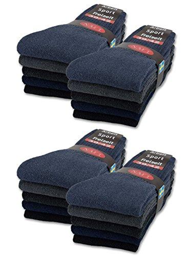 sockenkauf24 10 | 20 | 30 Paar Sportsocken Tennissocken Arbeitssocken Damen & Herren Socken in 5 Farben - Größe 35-50 wählbar (47-50, 20 Paar | Gemischt)