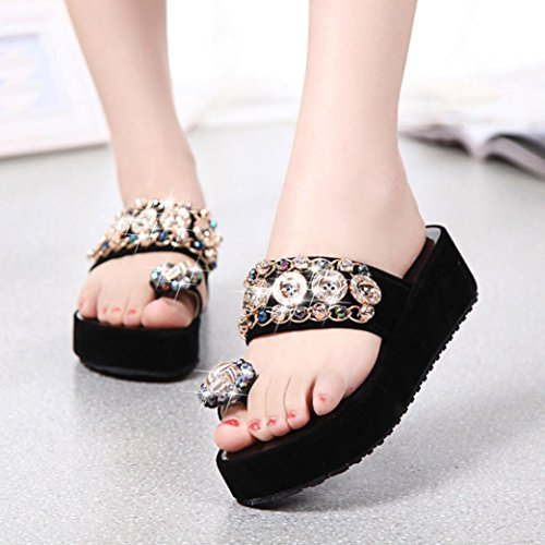 Kaiki Kristall Frauen Flip Flops Sommer Style Platform Hausschuhe Black