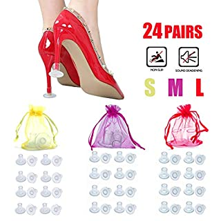 Stiletto High Heel Protectors,24 Pairs Heels Stopper Shoe Heel Savers Stoppers Covers Perfect for Weddings, Races, Formal Occasions - Protecting from Grass, Gravel, Bricks & Cracks