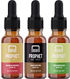 DELUXE EDITION 3x Beard Oils Set: Sandalwood, Cedarwood and Unscented - USA's TOP FAVORITE! Conditioner, Softener, Shine and Thicker Beard Growth - NUTS-FREE, VEGAN & HALAL! Prophet and Tools