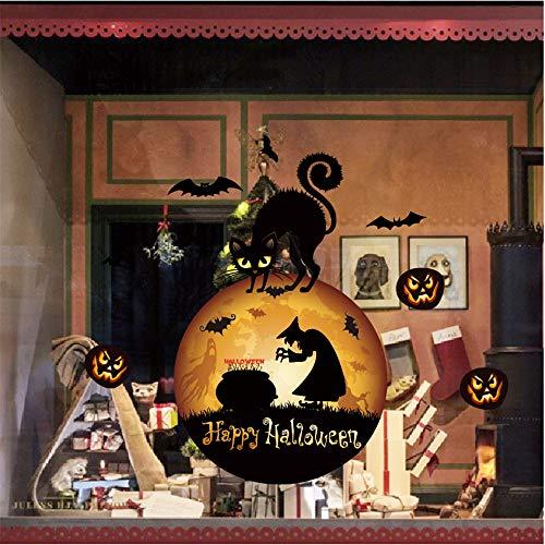 Spielzeug -Artistic9 Halloween Wandaufkleber JackoLantern Kürbis Black Cat Ghost Witch Haunted Building Wandtattoos Halloween Fensterbilder Dekorationen Horror Party Haunted House Aufkleber Supplies