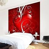 Apalis Vliestapete Floral Heart Fototapete Quadrat | Vlies Tapete Wandtapete Wandbild Foto 3D Fototapete für Schlafzimmer Wohnzimmer Küche | Größe: 192x192 cm, rot, 97654