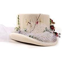 428feafd92724 HXGAZXJQ Victorian gótico Steampunk Flores de la Boda del cordón del  Sombrero de Copa para Las