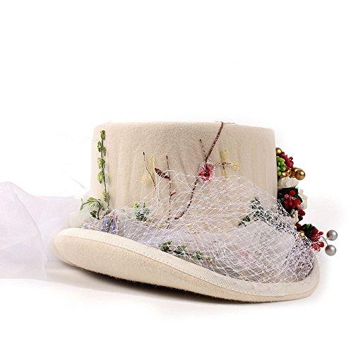 YINUO Gorras Victorian gótico Steampunk Flores de la Boda del cordón del Sombrero de Copa para Las Mujeres