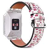 MysticBand Für Fitbit Ionic 44mm / 42mm Armbänder Uhrenarmband Ersatz Lederarmband mit integriertem Armband Adaptors - Schöne Teekanne Valentine