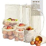 Lyeiaa Obst- & Gemüsebeutel Wiederverwendbar 10er Set Einkaufstasche Brotbeutel Shopper Tasche Einkaufsbeutel Jutebeutel Baumwollbeutel Einkaufsnetze, Waschbar & Leicht (S-XL)