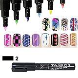 16 Farben Nagel Kunst Feder Nageldesign Stift DIY für Nail Art Salon Beauty 1 Stück
