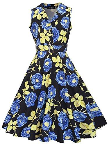 Feoya Damen 1950er Rockabilly Kleid Retro Audrey Hepburn Schwingen Ärmellos Knielang Festliche Kleider Partykleid Cocktailkleid Sommerkleid Blau