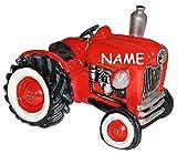Spardose Traktor / Oldtimer - mit Name - stabile Sparbüchse aus Kunstharz - Auto Fahrzeug Geld Sparschwein Trecker Fahrzeuge lustig witzig