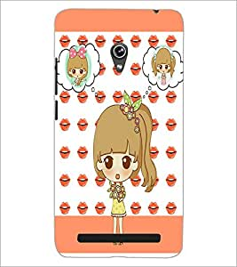 PrintDhaba Cute Doll D-3800 Back Case Cover for ASUS ZENFONE 6 A601CG (Multi-Coloured)