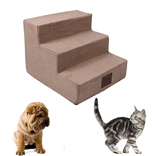 Dog Steps for High Bed Cat Steps 3-Step Pet Stairs for Small Dogs Ramp Ladder at Home Portable (Khaki)