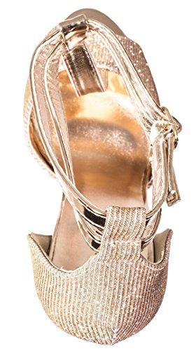 Elara Plateau Pumps | Party Stiletto High Heels | T-Strap Riemchen Glitzer | chunkyrayan Champagner