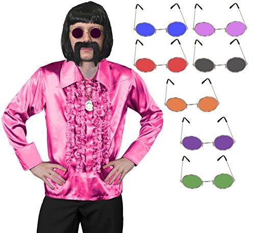 1960S FANCY DRESS ZUBEHÖR DISCO UND HIPPIE SET = = VON ILOVEFANCYDRESS®= SEIDIGES RÜSCHEN HEMD IN 6 FARBEN UND 5 GRÖSSEN = GOLD FARBENDE KETTE MIT MEDALLIE=HIPPIE BRILLE IN IN - 1960 Disco Kostüm