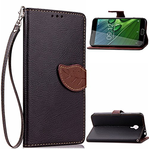 SATURCASE Acer Liquid Z6 Plus Hülle, Feuille Unique PU Lederhülle Magnetverschluss Flip Brieftasche Handy Tasche Schutzhülle Handyhülle Hülle mit Standfunktion für Acer Liquid Z6 Plus (Schwarz)