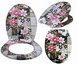 WC-Sitz Toilettensitz Toilettendeckel mit ABSENKAUTOMATIK PINK FLOWER