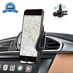 Idea Regalo - Supporto Auto Smartphone 360 Gradi di Rotazione IZUKU [Garanzia a Vita] Porta Cellulare Auto per telefoni iPhone 7 7 Plus 6s 6s Plus 6 6 Plus iPhone SE 5s, Samsung Galaxy S7 S6 J5 A5, Asus Zenfone 3, Huawei e GPS Dispositivi di Larghezza 5,3cm - 9,5cm