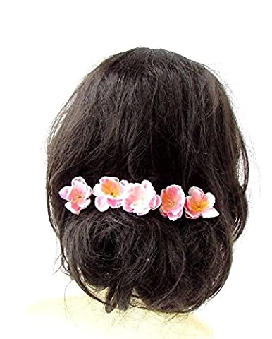 5 Blush Light Pink Cherry Peach Blossom Sakura Flower Hair Pins Bridal Vtg 2642 *EXCLUSIVELY SOLD BY STARCROSSED