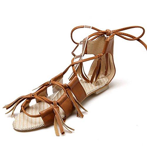Aberto Moda Femininas Rasos Dedo Sapatos Amarelas Laço Sandálias Coolcept 77XOT