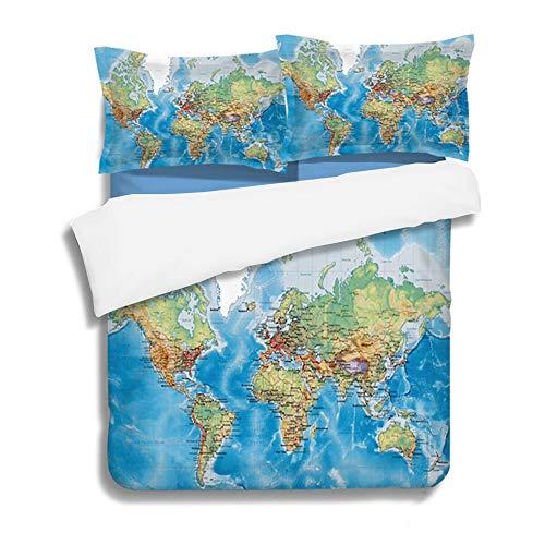 CHAOSE Weltkarte, Kinder, Jugend Lernen Bettwäsche Set,Superweiche Polyester-Baumwolle,3-teilig (1 Bettbezug + 2 Kissenbezüge 48x74cm) (Weltkarte, King Size(220x240CM 2M Breites Bett)) -
