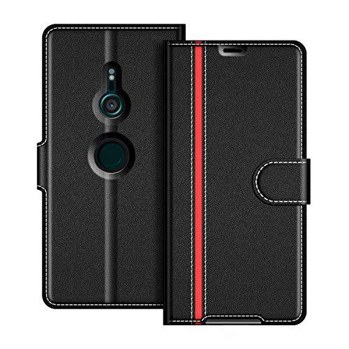 COODIO Sony Xperia XZ3 Hülle Leder, Sony Xperia XZ3 Lederhülle Ledertasche Wallet Handyhülle Tasche Schutzhülle mit Magnetverschluss/Kartenfächer für Sony Xperia XZ3, Schwarz/Rot