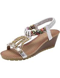Sandalias de Cuña para Mujer Bohemia Zapatos Abiertos Brillante Diamantes Sandalias de tacón alto De BIGTREE