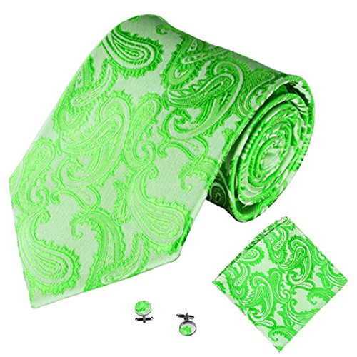 SOMESUN Gewebtem Jacquard Herren Krawatten Taschentuch Manschettenknopf 3PCS Paisley Cashew Taschen (grün)