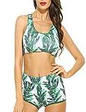Ekouaer Damen Lace Splicing Halter Neckholder Padding Badeanzüge two pieces Bikinis Bandeau Neckholder Bademode, Grün 444, EU 40(Herstellergröße: L)
