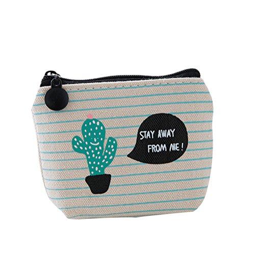 BIGBOBA, piccolo e grazioso portamonete in tela con motivo a cactus, per donne e ragazze, Tela, 1, 10*9*3.5cm