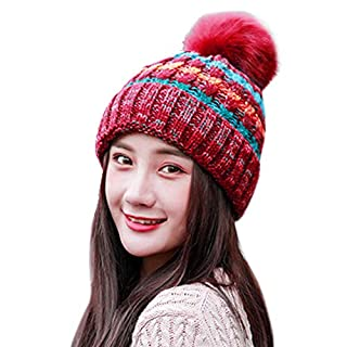 ABLE Warm Beanie Hat Scarf Set Skiing Hat Outdoor Sports Hat Sets (3-red (Women), One Size)
