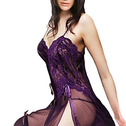 Frauen Sexy Dessous Babydoll Nachthemd Plus Größe mingfa Floral Nachtwäsche Nachtwäsche Tanga aus Spitze Langes Kleid Unterwäsche Set 3XL violett (Trim Straps-gürtel)