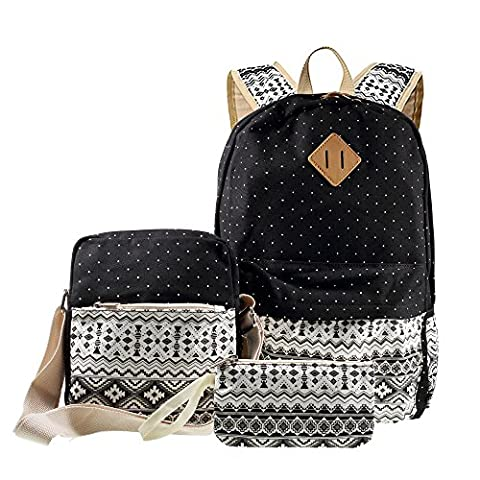 Canvas Rucksack, 3 in 1 Gelegenheits Tribal & Dots Rucksack, Schule Bag + Messenger Bag + Handtasche