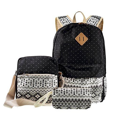 canvas-rucksack-3-in-1-gelegenheits-tribal-dots-rucksack-schule-bag-messenger-bag-handtasche-schwarz