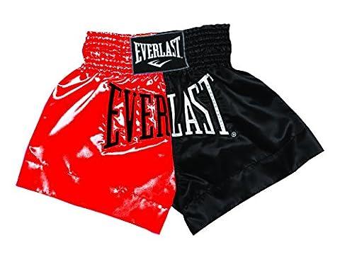 Everlast EM7 Short de boxe thaïlandaise pour homme L Rouge - Rouge