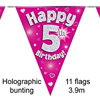 Oaktree 630505 5th Birthday Pink Bunting - 3.9m (1)