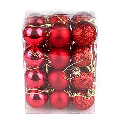 Weihnachtsdekoration Weihnachtsbaum Glitter Balls Einfarbig Weihnachten Kunststoff Ball Anhänger Gadgets Weihnachtsfeier Dekorationen 24 STÜCKE