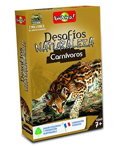Bioviva- Juego de Cartas Desafíos Naturaleza Carnívoros (Asmodee 307)