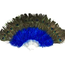 Pluma de pavo real plumas grande de porcelana demostrar Ventilador de plumas de baile boda Showgirl