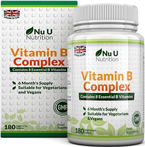 Vitamin B-Komplex – alle 8 B-Vitamine in einer Tablette – Vitamine B1, B2, B3, B5, B6, B12, D-Biotin & Folsäure – 6-Monats-Versorgung – 180 Tabletten – Nahrungsergänzungsmittel