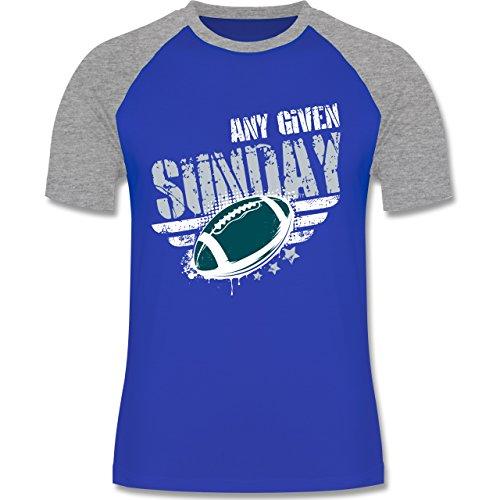 Shirtracer American Football - any Given Sunday Football Philadelphia - Herren Baseball Shirt Royalblau/Grau meliert