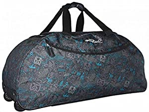"FunkyTravelbags 30"" Extra Large Black & Blue Print Lightweight Wheeled Holdall Holiday Weekend Travel Bag"
