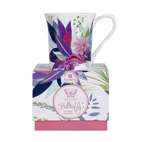 Ashdene Madame Butterfly fleur - Fine Bone China Cup Mug Porzellantasse Tasse Becher tazza taza 8,5cm 250ml, Gift box, best quality, ASHDENE, Australia Bone China Fine China Mug