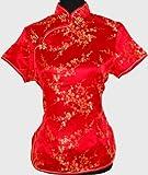 Chinesisch Satin Pullover Top Bluse Rot Verfügbare Größen: 32, 34, 36, 38, 40, 42