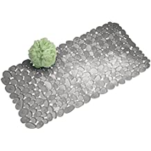 mDesign Alfombra para ducha con ventosas - Alfombra para baño de diseño - Alfombra antideslizante para colocar al lado de la bañera, ducha o en la cocina - Medidas: 43,18 cm x 11,6 cm