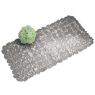 mDesign Alfombra para ducha con ventosas – Alfombra para baño de diseño – Alfombra antideslizante para colocar al lado de la bañera, ducha o en la cocina – Medidas: 43,18 cm x 11,6 cm