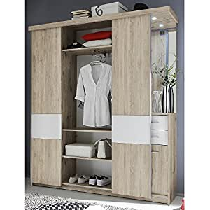 garderoben set flurgarderobe swing 2 sonoma eiche wei mit spiegel beleuchtung. Black Bedroom Furniture Sets. Home Design Ideas