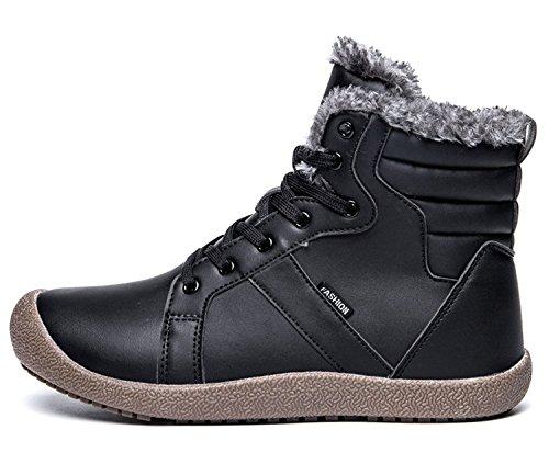 Lacets Cheville Chaussures Noir Chaudes Hiver Bottines Plates Bottes 4pUxwxXq
