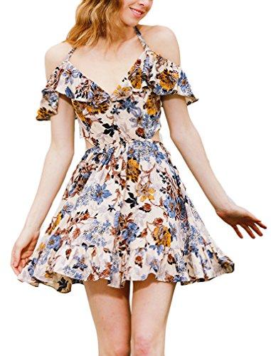 Damen Abendkleider Kurz Elegant Mit Floralem Print A Linie Kleid Swing V-Ausschnitt Neckholder Rüschen Rückenfrei Abendmode Partykleid Cocktailkleid (Print Belted Kostüme)